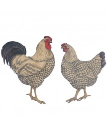 Wyandotte Cockerel and Hen Wall Plaque Pair