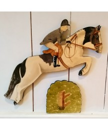 Jumping Horse, Rider & Hedge Wall Plaques