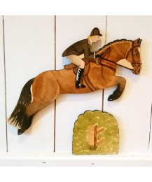 SALE Jumping Horse, Rider & Hedge Wall Plaques