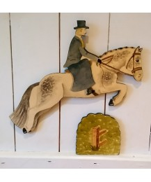 SALE Jumping Horse, Side Saddle Rider & Hedge Wall Plaques