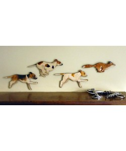 Fox & Hounds Wall Plaque Set