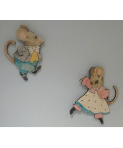 Clive & Annie Mice Wall Plaques