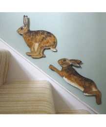 Hares on the Stairs Wooden Wall Plaques