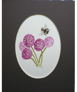 Alliums with Bumblebee Original Watercolour