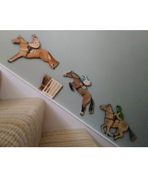 Racing Three Horse Wall Plaque Set