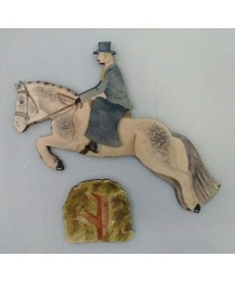 Jumping Horse, Side Saddle Rider & Hedge Wall Plaques