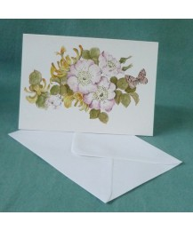 Dog Rose & Butterfly Card