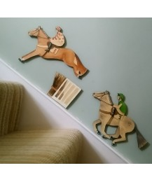Racing Two Horse Wall Plaque Set